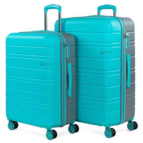 JASLEN - Stijve kofferset met Travel USB 4 wielen Trolley ABS. Uitbreidbaar Comfortabel en licht hard. TSA-slot. Middelgrote en grote maten 171216, Color Turquoise-Zilver