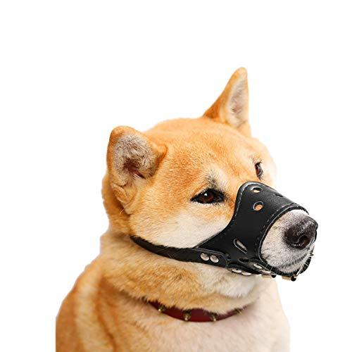 HITNEXT Bozal para Perros de Cuero Suave, bozales Negros para Perros para Evitar ladridos/morder/Masticar, bozal Ajustable para Perros pequeños, medianos y Grandes (XS)