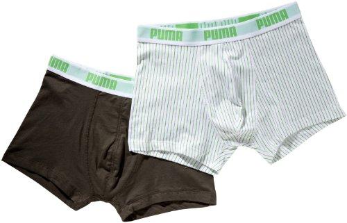PUMA Pin Stripe - Boxer da Uomo, 2 Paia, Multicolore (Kaki/Bianco), XL