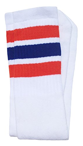 Skatersocks 25 Inch Tube Socken Kniestrümpfe oldschool Sportsocken weiß blau orange