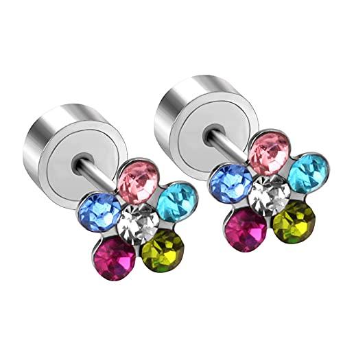 Pendientes de botón de flor de zironia cúbicos Mujer/niña/bebé Acero inoxidable más Pendientes de joyería de moda de cristal