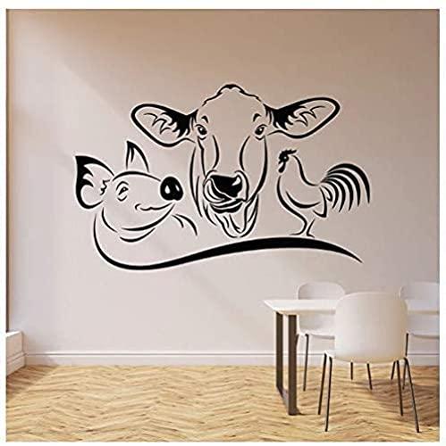 Vaca Cerdo Gallo Calcomanía De Pared Animal De Granja Cocina Restaurante Comedor Casa Decoración Vinilo Ventana Pegatina Mural Arte Extraíble 57X36Cm