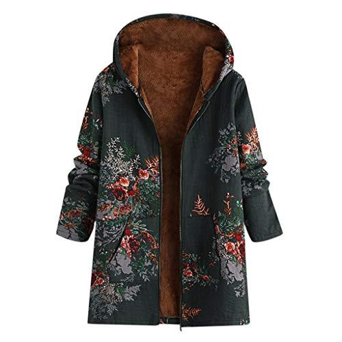 AMUSTER Damen Winter Warm Dicker Outwear Parka Mantel Jacke Blumendruck Taschen Vintage Oversize Patchwork Winterjacke Mit Kapuze Warm Langarm Hoodie Jacke