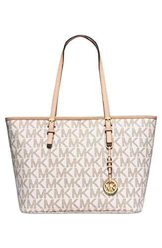 Michael Kors Jet Set Travel Top Zip Signature Monogram Tote, Vanilla