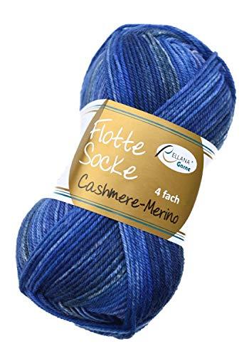 Rellana Flotte Socke Cashmere Merino Fb. 1324 - blau, 50g weiche Sockenwolle mit Kaschmir und Merinowolle zum Stricken & Häkeln