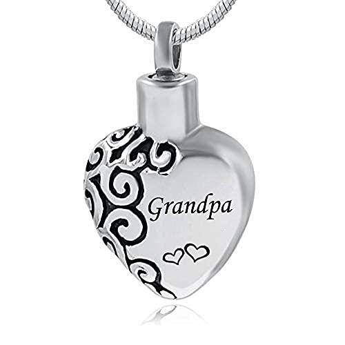 UGBJ Cenizas Guardar Joyas de Acero Inoxidable Joyas de la cremación del corazón Colgante de los Recuerdos de los Recuerdos de Las Cenizas Colgante conmemorativo de Papa Mama Granny Son