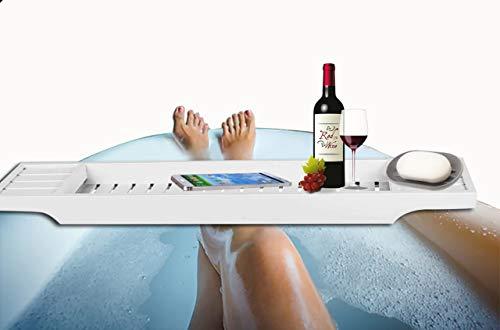 Badewannenablage mit Buchstütze Badewannenauflage ausziehbar Wannenbrett Metall