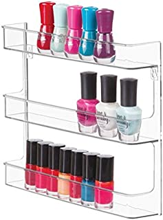 mDesign Wall-Mounted Nail Polish Shelf - Stylish Cosmetics Tray for The Bathroom - Nail Care Products Holder - Practical Cosmetics Storage with 3 Levels - Clear