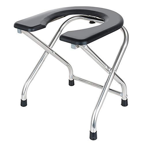 CYY Silla de Inodoro Portátil para Acampar,Silla con WC Plegable de Acero Inoxidabl con Asiento Acolchado en Forma de U,para Adultos Ancianos Discapacitados
