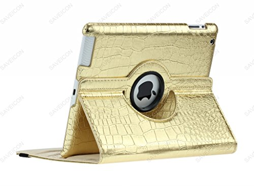 SAVEICON (TM) 360 Degrees Rotating Crocodile Skin PU Leather Case Smart Cover with Stand and Sleep/Wake Function for Apple iPad 4 with Retina Display, iPad 3, iPad 2 (Gold) Photo #6