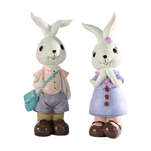 josietomy Figura decorativa de conejo de Pascua, simpática figuras de resina de...