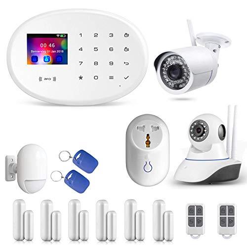 Profi WLAN Funk Alarmanlagenset Model W-20.WiFi-Smarthome vom Fachhändler KEPPSECURE- GSM & WiFi Alarmanlage mit Bewegungsmelder und Kamera (Alarmanlage Set 5)