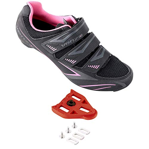 Venzo Bike Bicycle Women's Ladies Cycling Riding Shoes - Compatible with Peloton Shimano SPD & Look ARC Delta - Perfect for Indoor Spin Road Racing Indoor Exercise Bikes - with Delta Cleats 41
