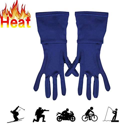 HUO FEI NIAO SHOP Guanti Esterni scaldanti, Controllo della Temperatura in Fibra di Carbonio Intelligente for 4,5 Ore, Touch Screen Impermeabile for prevenire l'artrite (Colore : Blue, Taglia : L)