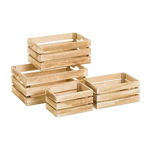 Set de 4 Cajas de Madera MDF Multiusos Natural rústico - LOLAhome