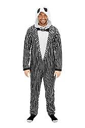 The Nightmare Before Christmas Jack Adult Union Suit Costume Pajama Onesie with Hood