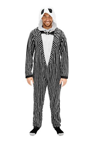 The Nightmare Before Christmas Jack Adult Union Suit Costume Pajama Onesie with Hood (Adult Large) Black