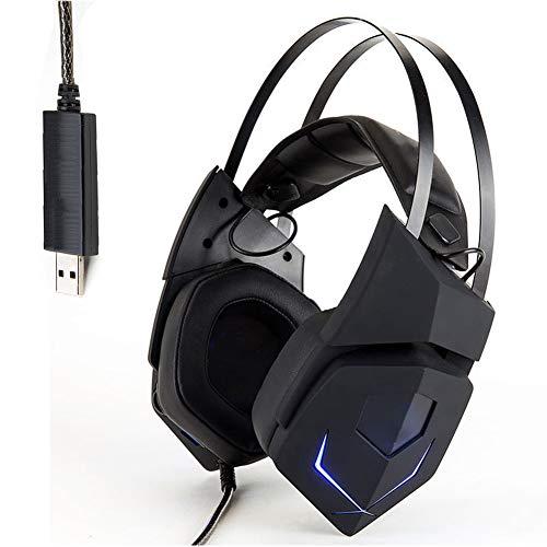 ENEN Gaming-Headset USB-kabelgebundenes Headset, 7.1 Surround-Geräusch-Rauschunterdrückungsmikrofon RGB-Kaltlicht-Einstellbarer Kopfstrahl-Protein-Ohrenschützer, geeignet für PC