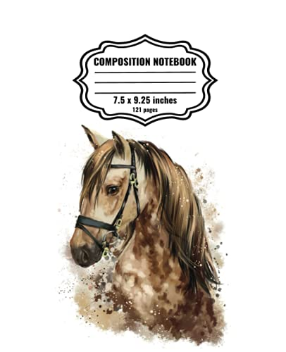 Horse Composition Notebook: Wide Ruled Paper Horse Notebook Journal | Blank Wide Lined Workbook for Girls Boys Kids Teens Students | Simple Design | Back to Scool Gift