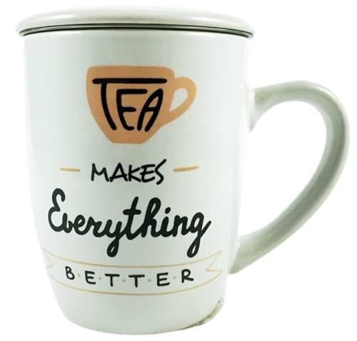 Taza para te de ceramica con tapa y filtro de acero inoxidable- tazon porcelana con filtro tea 11cm - Taza infusion modelo tropical 350ml