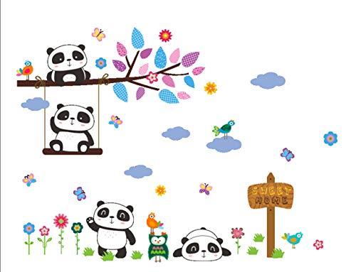 Qing Pegatinas de Pared de Animales para Dormitorio Infantil Panda Aves Flor Arbol Hierba (Panda A)