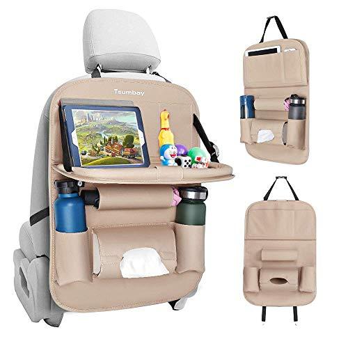 Tsumbay Auto Rückenlehnenschutz (1 Stück) Wasserdicht Autositz Organizer mit vielen Sack, Tablet/Telefon Aufbewahrung, Multifunktionale Auto Aufbewahrungstasche für Auto Ordentlich