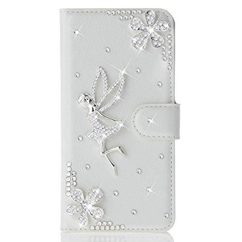 Awenroy Glitzer Hülle für Wiko Lenny 2 Strass Bling Handy Tasche Flip PU Leder Wallet Handyhülle Kartenfach Aufstellfunktion Magnetverschluss mit Stand Funktion - Weiß