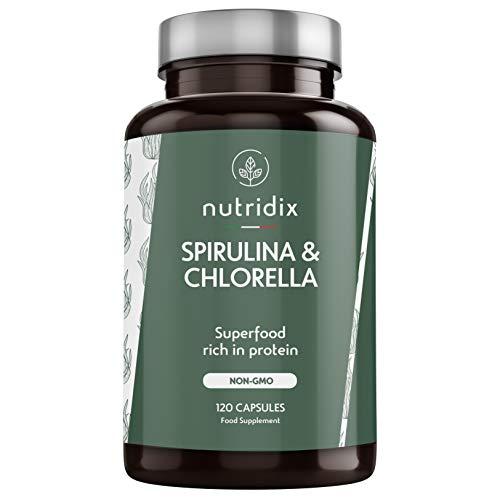 Espirulina y Chlorella 100% Veganas - Energia y Vitalidad - Detox y Saciante - Suplemento Rico en Minerales y Vitaminas - 120 Cápsulas Nutridix