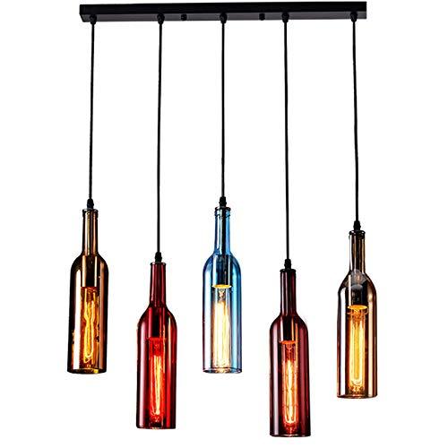 5-Light Vintage Industrial Colored Glass Pendant Light, Wine Bottle Creative Retro Chandelier for Cafe Loft Restaurant Kitchen Island Bar Dining Room Bar
