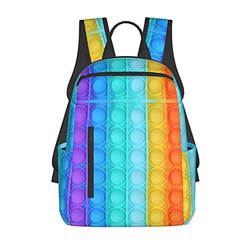 Rainbow-Pop-It 3D Print School Book Bags Girls/Boys Backpacks For Teenagers Unisex Adjustable Shoulder Strap