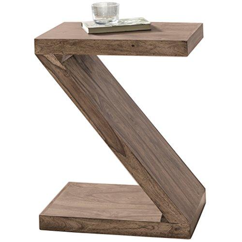 WOHNLING bijzettafel massief hout Sheesham 59 cm woonkamertafel design donkerbruin landhuisstijl salontafel natuurproduct staande kast unicaat krantenhouder massief houten meubels echt hout salontafel