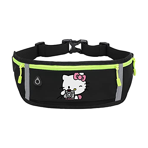 Hello Kitty & Camera Best comfortable unisex Water Resistant sports waist packs,Fit All Phone Models with 3-Zipper Pockets for Running,Hiking,Cycling etc One size