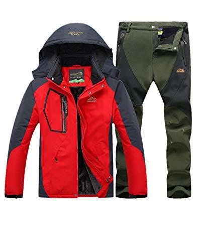 LiangZhu Herren Skijacke Segeljacke Snowboarjacke Warme Outdoorjacke Wasserdicht Atmungsaktiv Top + Hose Zweiteilig Rote Armee Grün S