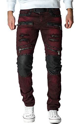 Cipo & Baxx Herren Jeans CD481-bans Bordeaux W33/L34