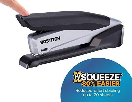 Bostitch Office Executive Stapler - 3 in 1 Stapler - One Finger, No Effort, Spring Powered Stapler, Black/Gray (INP20), 20 Sheets