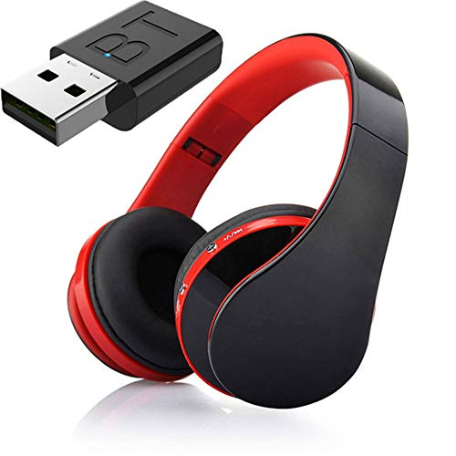 Auricular Bluetooth TV, Auriculares Hi-Fi Bluetooth, Bajo Profundo Auricular Inalámbrico De TV, La Barra De Inicio para La TV Teléfono De La Computadora,Rojo