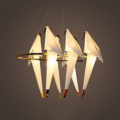 WEM Candelabro de mil pájaros de grúa de papel, candelabro de restaurante con personalidad, candelabro de casa modelo, candelabro de hierro, candelabro de origami creativo,seis colgante