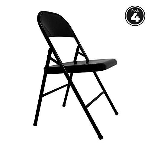 Regalos Miguel - Packs Sillas Plegables - Pack 4 Sillas Niza - Negro - Envío Desde España