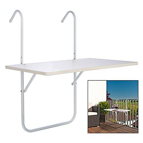 Mojawo - Mesa plegable para camping, mesa colgante para balcón, 60 x 40 cm, color blanco
