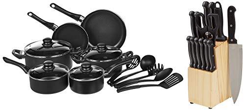 AmazonBasics Juego de cuchillos de cocina y soporte (14 piezas) + Juego...