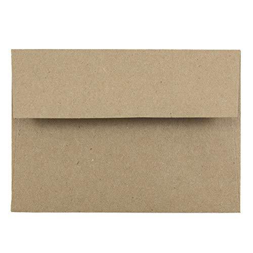 JAM PAPER Pequeños Sobres de Invitación - 92,1 x 130,2 mm - Bolsa de Papel Kraft Marrón - 100 por Paquete