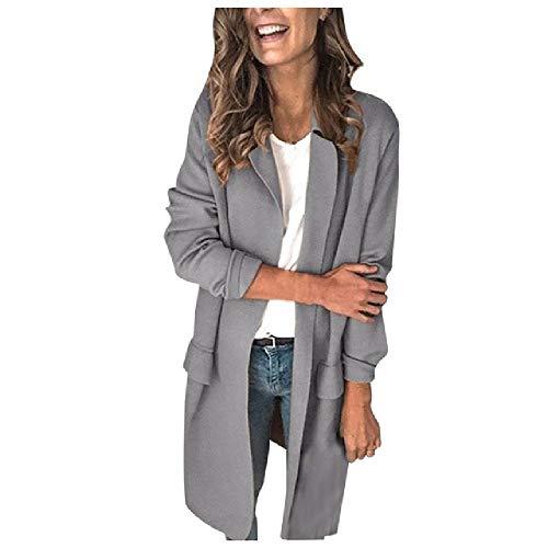 N\P Abrigo blazer para mujer, de manga larga, para mujer gris XL