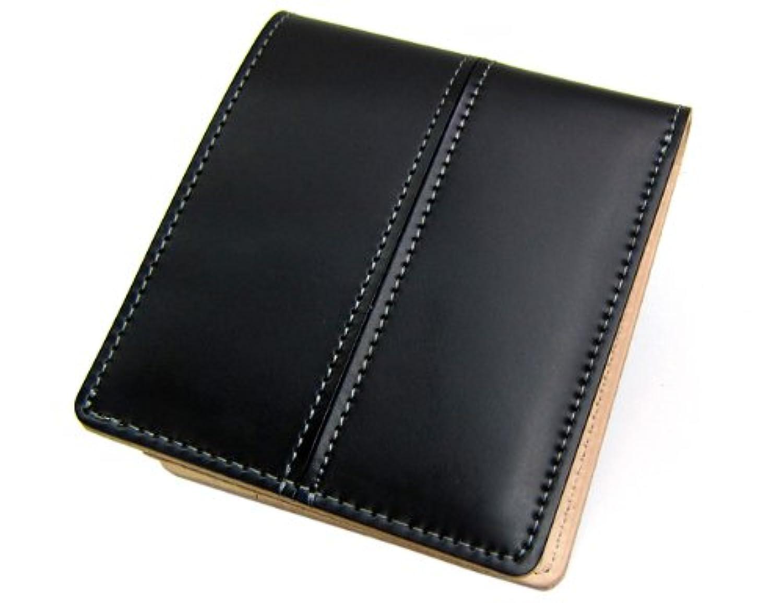 日本製 Maturi マトゥーリ ジャパンコードバンセンターステッチ×日本製ヌメ革 二つ折財布 MR-024 黒