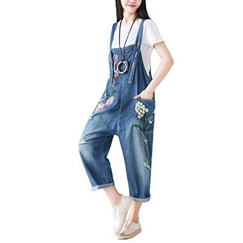 YuanDian Damen Latzjeans Denim Latzhose Weites Bein Große Größen Overalls Strampler Jeans Einteiler Hosen Boyfriend Loose Fit Umstands Mutterschaft übergroße Jumpsuits Hose 8# Blau
