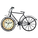 Fuere - Reloj de bicicleta de hierro, reloj de mesa clásico no – Ticking silencioso, retro, reloj de bicicleta decorativo, decoración de regalo, color negro