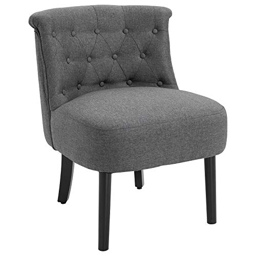 HOMCOM Modern Accent Leisure Chair with Mid Back Button-Tufted Upholstered Fabric and Wooden Legs, Grey