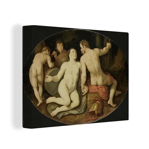 MuchoWow Photo sur toile - Vénus et Mars - Peinture de Cornelis Cornelisz. van Haarlem - 40x30 cm - Avec Cadre