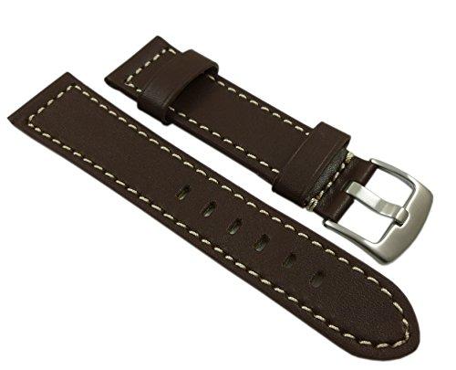 22mm Weiches Kalbsleder Uhrenarmband in Braun mit silberner Schnalle