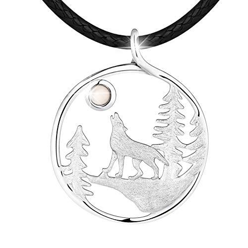 Starchenie Collar de Lobo de Plata de Ley 925 para Mujer y Hombre, Collar con Colgante de Lobo Solitario Chapado en Oro de 18k con Piedra Lunar
