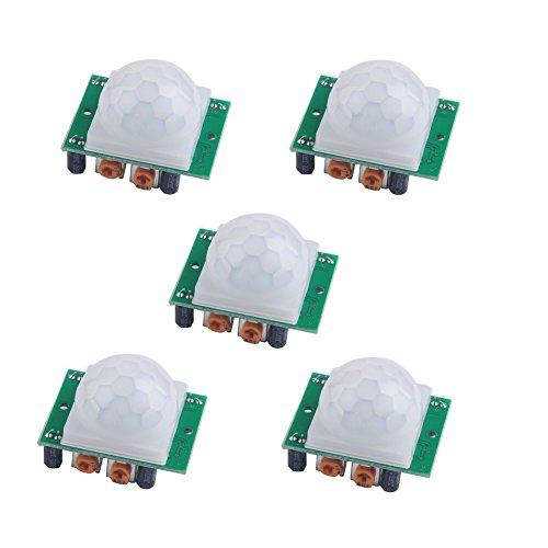 Stemedu HC-SR501 - Módulo de movimiento infrarrojo con sensor PIR para Arduino Raspberry Pi (paquete de 5 unidades)